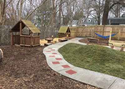 Playhouses, texture trail, and toddler hill